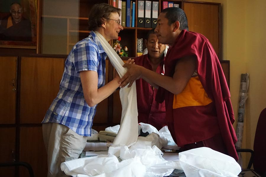 Donation at the Yellow Gompa for refugees of Langtang-valley